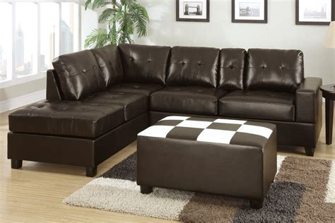 bonded leather sectional poundex walden f7273 brown bonded leather sectional sofa