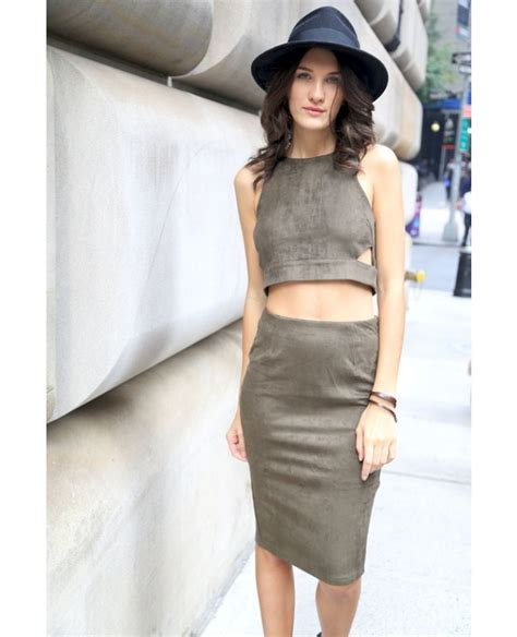 Top Set crop top pencil skirt two set
