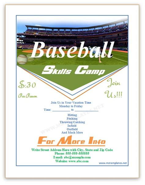 baseball flyer template baseball flyer save word templates
