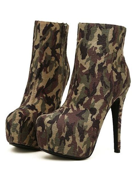 high heeled army boots army camouflage high heels ankle boots on luulla
