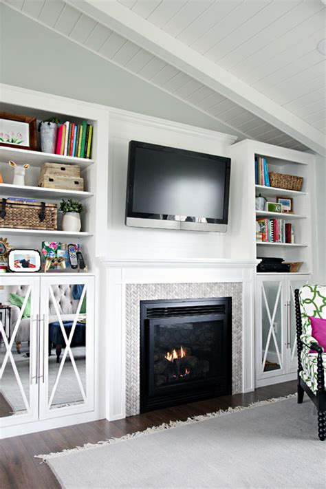 diy built in cabinets around fireplace iheart organizing diy fireplace built in tutorial