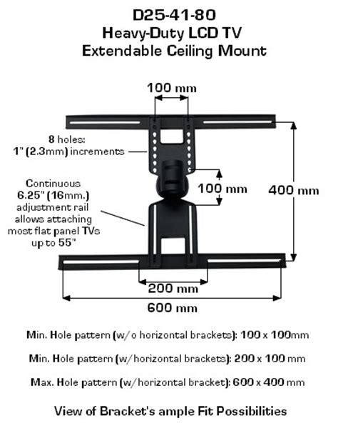 Telescopic Tv Bracket 1 3m Thick 400 X 400 Pitch For 26 55 Inch Tv d25 41 80 ceiling tv mount lcd flat panel tv mount