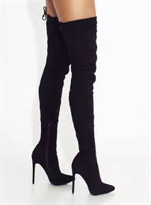 black mile high suede thigh boots