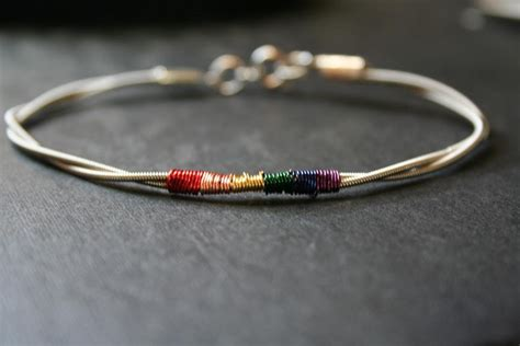 how to make guitar string jewelry bass guitar string jewelry bracelet with rainbow pride colors