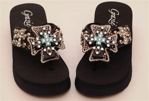 Faith Jarb Flip Flops by Grazie Flip Flop Shoes Black Faith Cross Jeweled