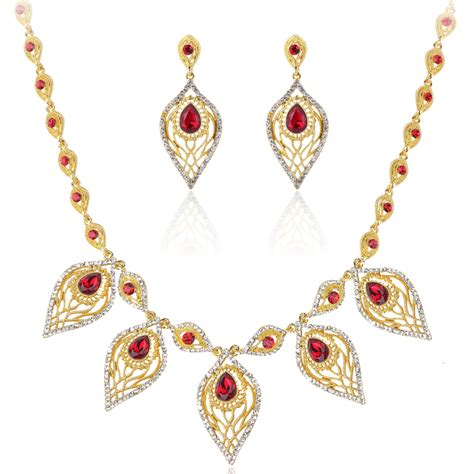 aliexpress buy fashion jewelry sets leaf necklace 18k gold plated india jewelry fashion