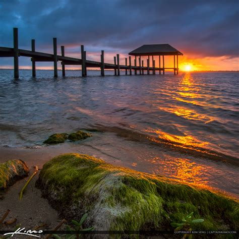 refuge house sunset stuart pier at refuge house square royal stock photo