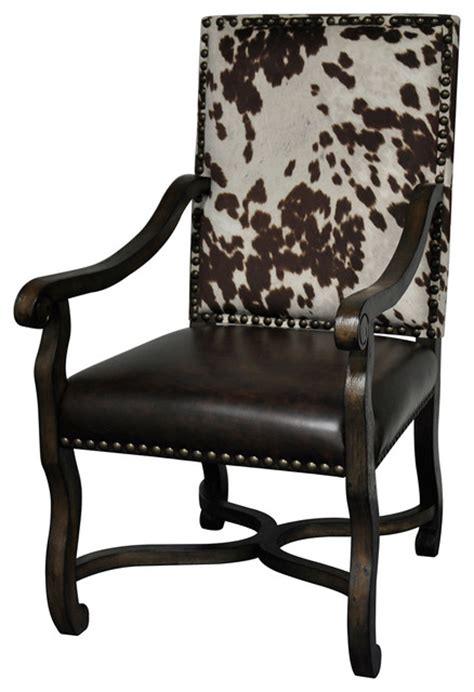 Faux Cowhide Chairs - mesquite ranch leather and faux cowhide armchair