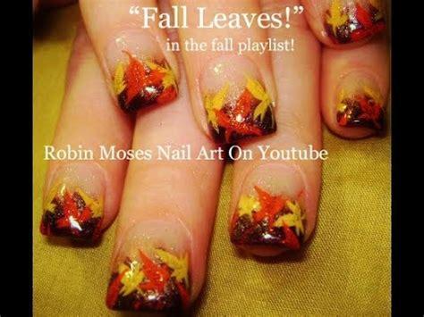 nail art leaf tutorial easy fall leaf nail art diy autumn leaves thanksgiving