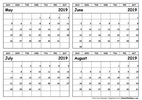calendar printable  june july august printable
