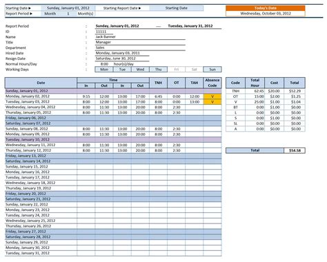 employee time sheet manager for excel excelindo