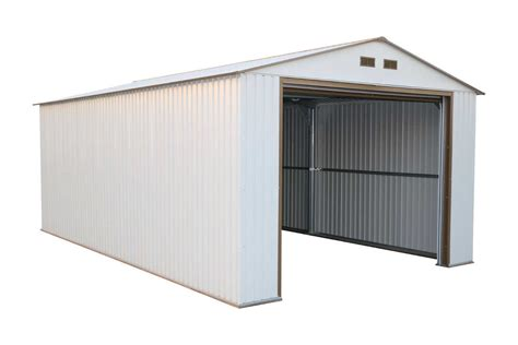 Metal Shed Garage by Duramax 12x20 Metal Garage With Roll Up Door White