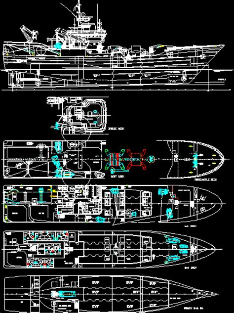 ship dwg commercial fishing boat in autocad download cad free