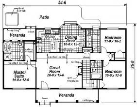 Rectangular Ranch House Plans by House Plan 98889 At Familyhomeplans Com