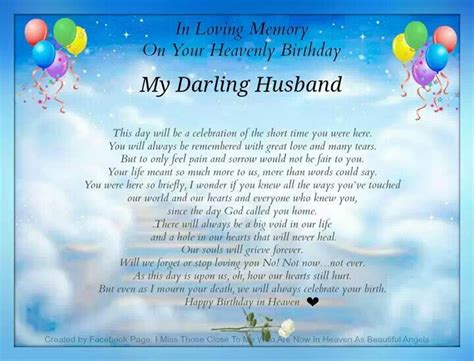 message for my husband husband on his birthday missing you poem
