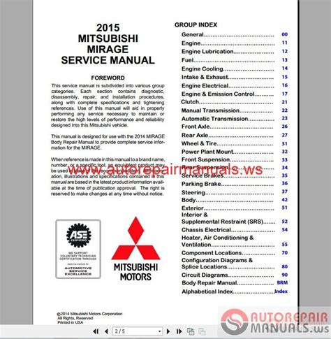 mitsubishi mirage 2015 workshop manual auto repair manual forum heavy equipment forums