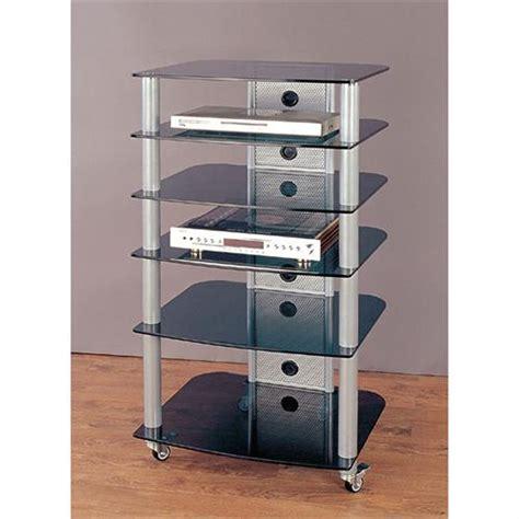 Mobile Audio Rack Vti 6 Shelf Mobile Audio Rack Silver With Black Glass Ngr406sb