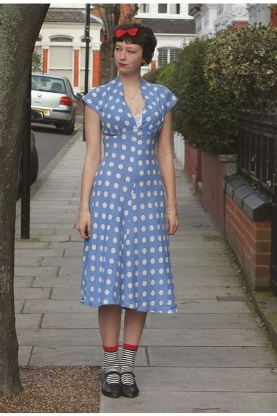 Blue Sweet Retro Dress From Tara Deluxe light blue tara starlet dresses black 1920s vintage heels quot tara starlet dress quot by