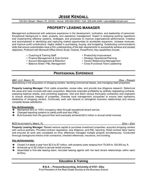 leasing consultant resume resume ideas