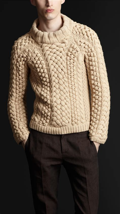 thick cable knit sweater burberry prorsum chunky cable knit sweater in beige for