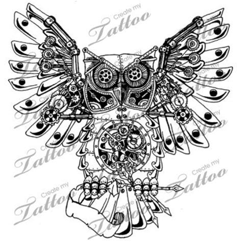 marketplace tattoo steam punk mechanical owl 13660