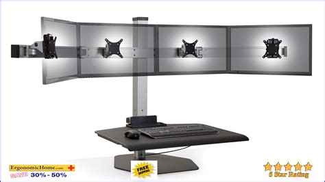 sit stand desk dual monitor innovative winston workstation wnst 4 fs quad monitor