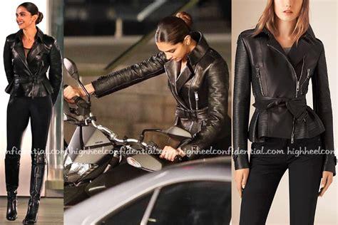 deepika padukone jacket biker chic high heel confidential