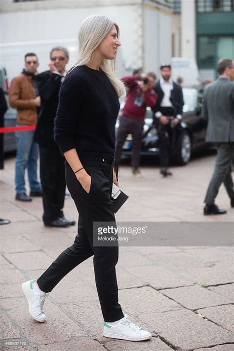 Mellan Fashion Adidas Turquise harris of vogue uk enters ferragamo in a balmain jumper gucci trousers and adidas stan