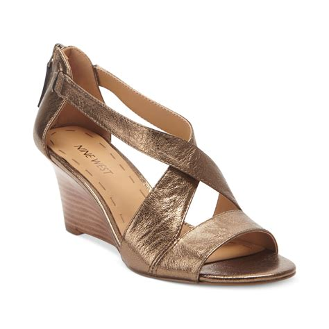 gold wedge sandals nine west ronton wedge sandals in gold gold lyst