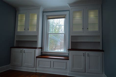 Window Seat With Cabinets by Built In Cabinets With Window Seat Transitional Dining