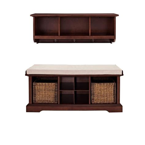 bench shelves crosley brennan entryway bench with shelf set in mahogany