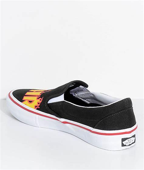 vans x thrasher slip on pro black skate shoes zumiez