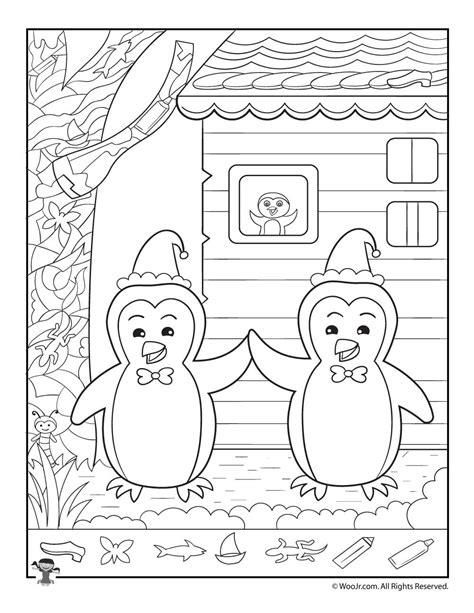 printable winter hidden picture puzzles winter penguins hidden picture printable woo jr kids