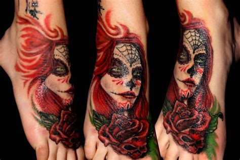 day of the dead rose tattoo day of the dead foot roses modification