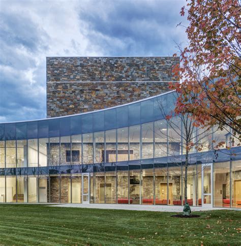architecture curtain wall glass and concrete arts center by machado and silvetti