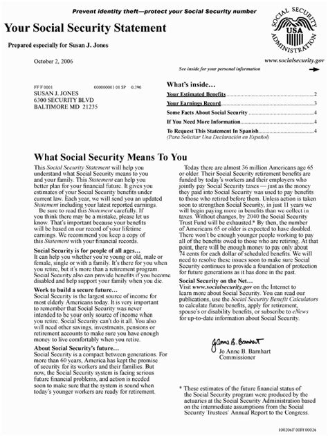 Award Letter Irs Those Annual Social Security Statements Still Aren T As Commissioner Michael Astrue