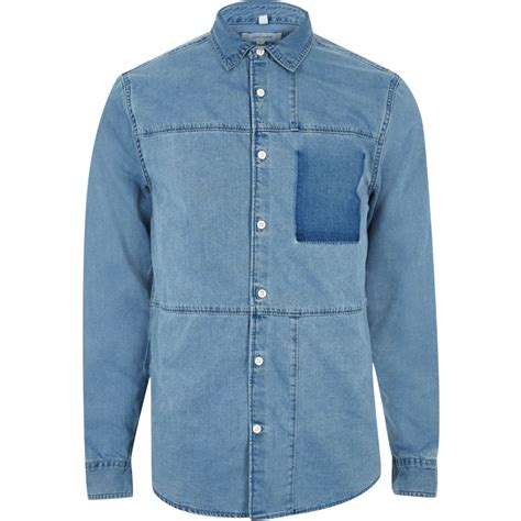 blue denim panel shirt shirts sale