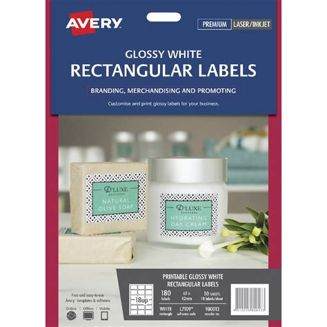 printable labels officeworks avery print to the edge rectangle labels gloss white 180
