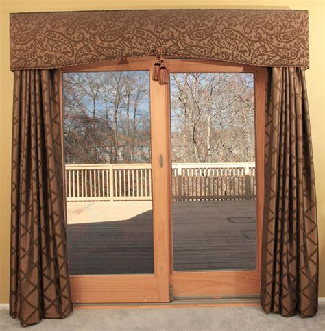 patio door cornice and drapery traditional curtains