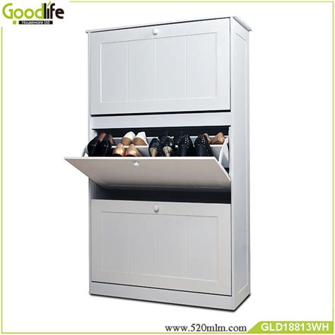 high gloss paint 3 layers wooden shoe cabinet factory