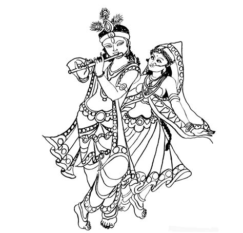 gallery drawing and colour of krishna and radha at very
