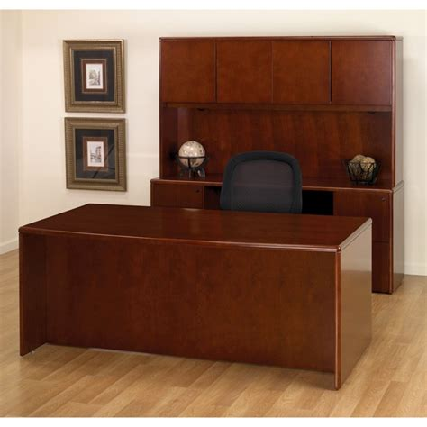 Office Desks Wood Executive Office Desk Suite In Cherry Wood