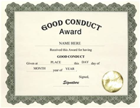 certificate of conduct template free award templates for pre school and kindergarten
