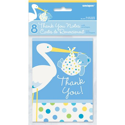 blue stork baby shower thank you notes 8pk walmart