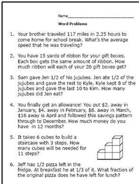 6th Grade Word Problems Worksheet here are some math word problems for 6th graders