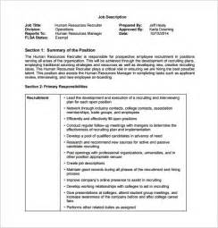 9 recruiter job description templates free sample