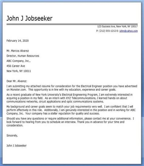 application letter electrical engineer electrical engineer cover letter