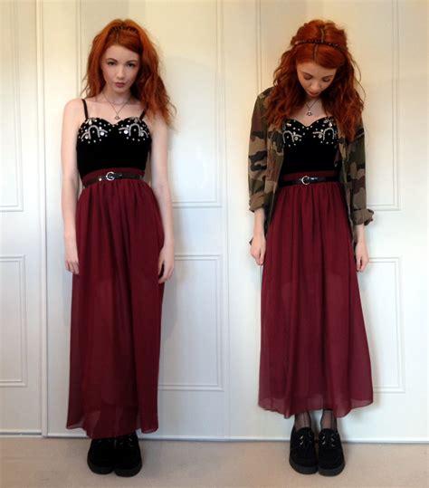 Hannah Louise Vintage Embellished Velvet Bralet, American Apparel Burgundy Chiffon Maxi Skirt