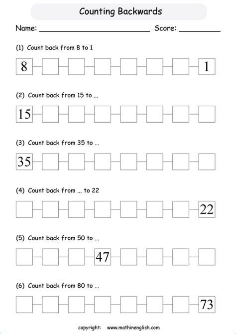 Counting Backwards Worksheets Grade 1 by Count These Numbers Backwards Challenging Math Grade 1 Counting And Number Sense Worksheet For