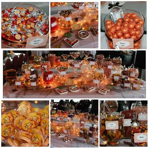 beautiful fall themed candy buffet from sweet chicks candy